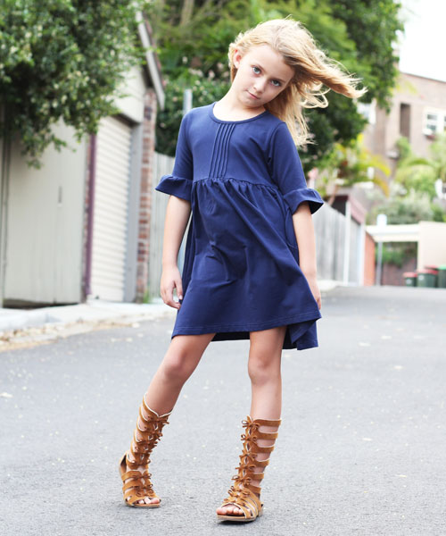 OOVY Kids Navy Bell Sleeve Dress