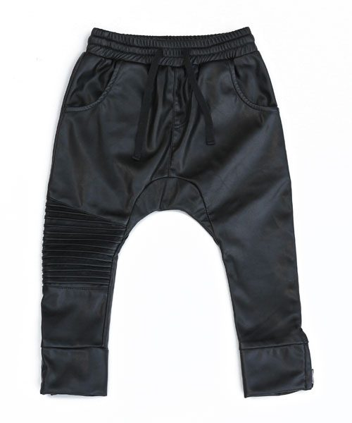 OOVY Black Leather Biker Pants
