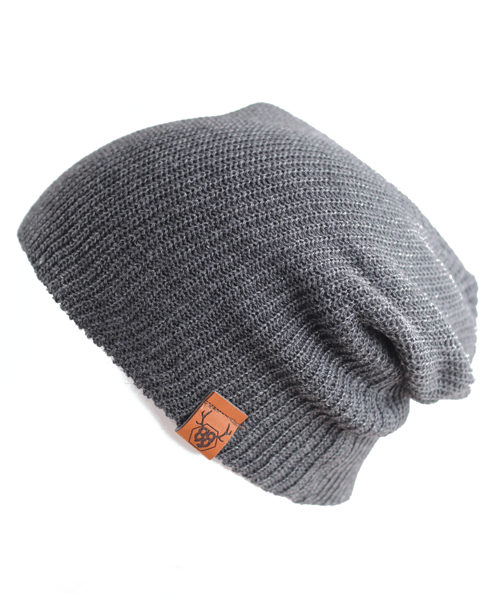 OOVY Charcoal Knit Slouch Beanie