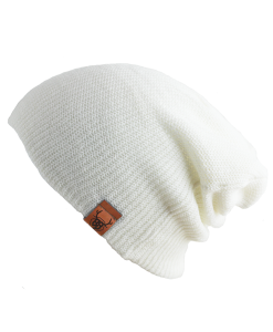 OOVY White Knit Slouch Beanie