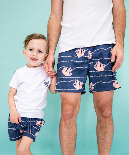 OOVY Father and Son Boardshorts Lazy Days Sloth