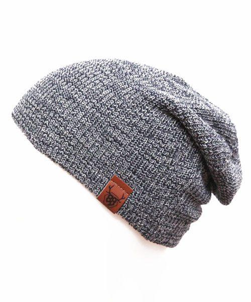 OOVY Acid Wash Grey Knit Slouch Beanie