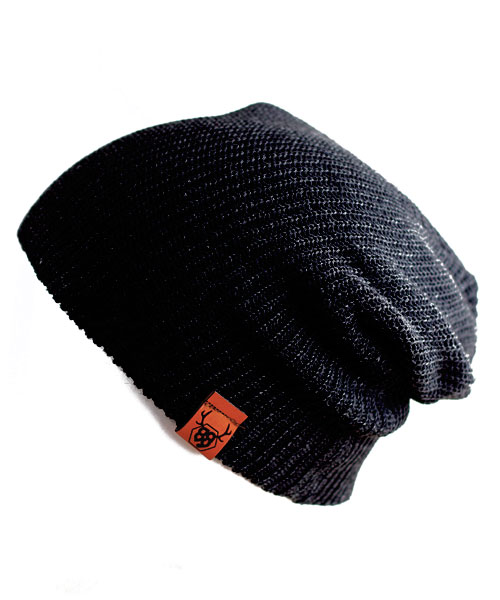 OOVY Black Knit Slouch Beanie