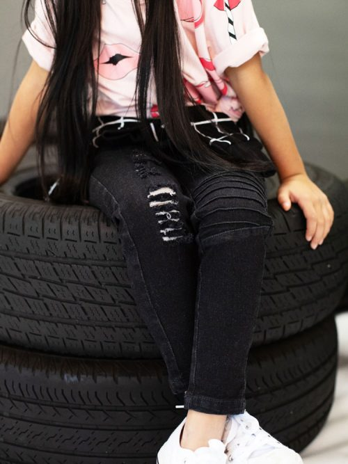 OOVY Kids Black Distressed Denim Jegs