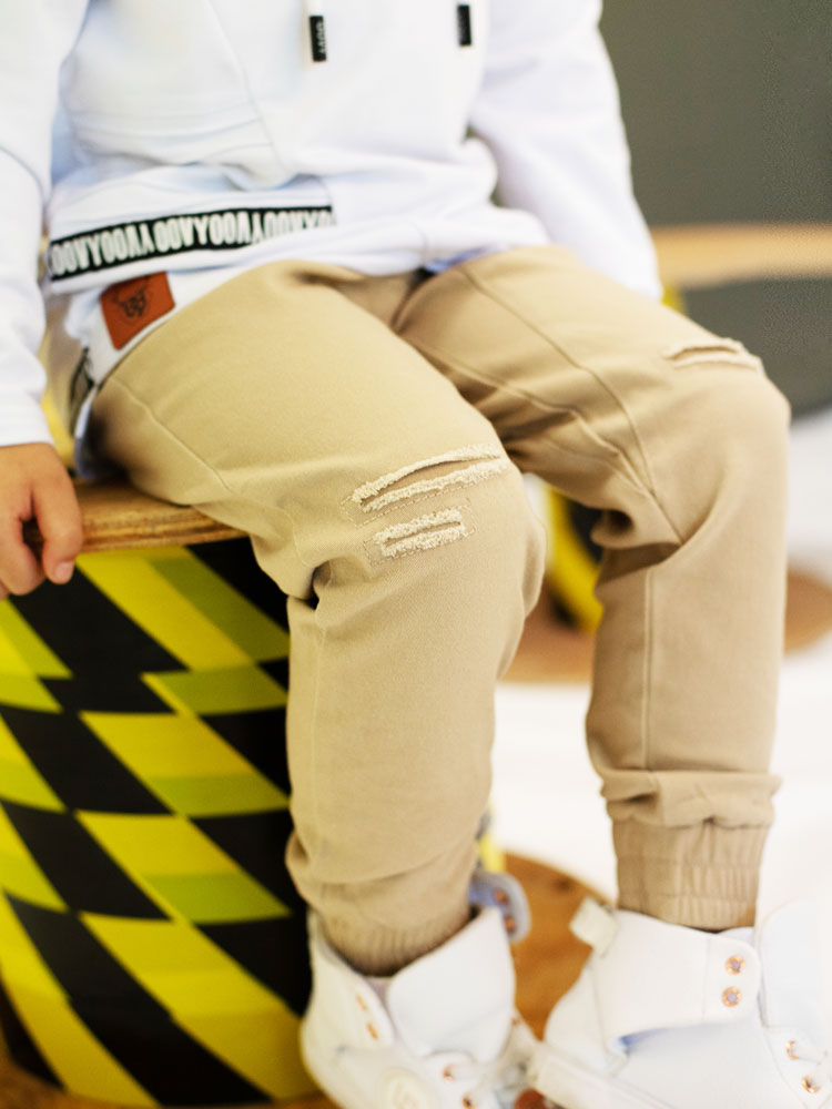 OOVY Kids Latte Distressed Chino Pants
