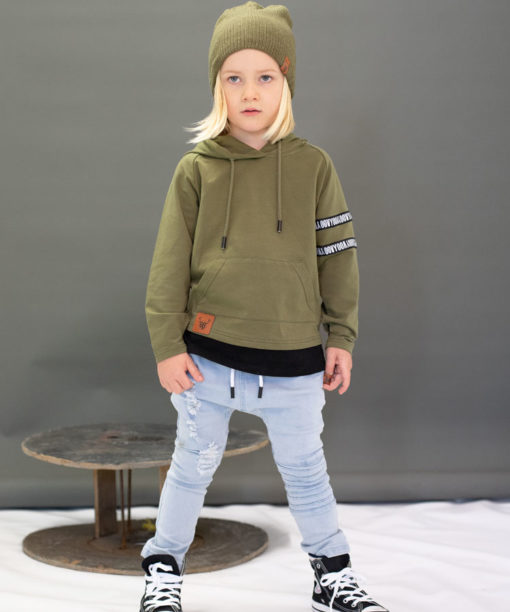 OOVY KIds Olive Long Sleeve Hooded Top