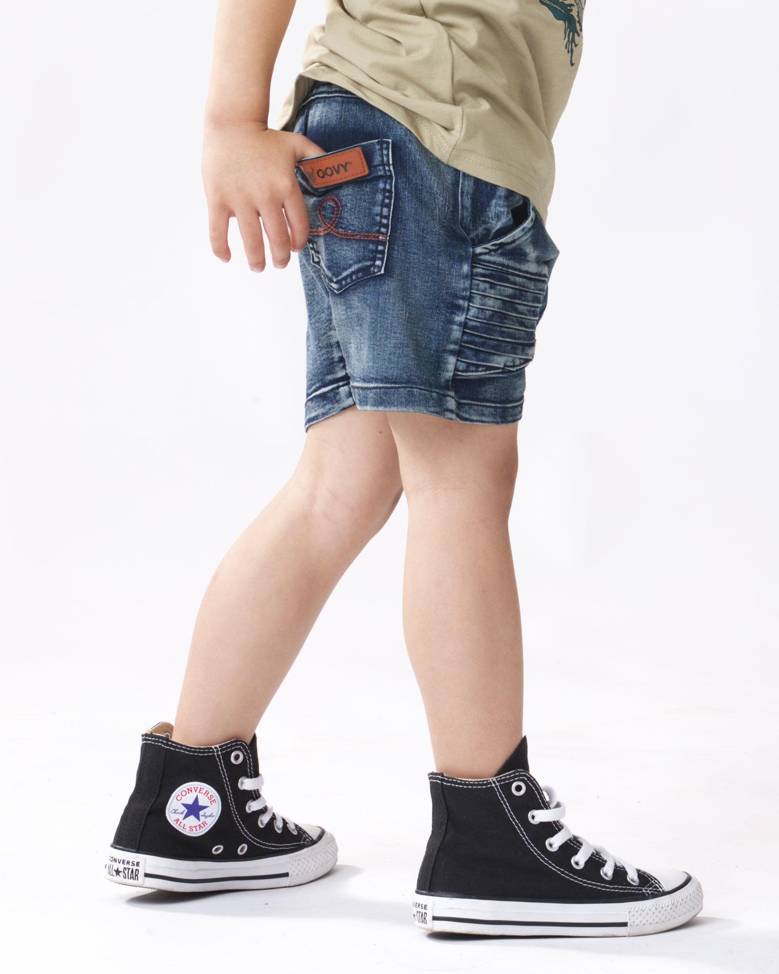 OOVY KIds Navy Stone Wash Denim Shorts