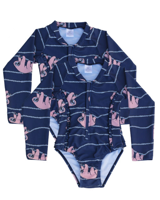 OOVY Kids Girls Sloth Sunsuit Gift Set