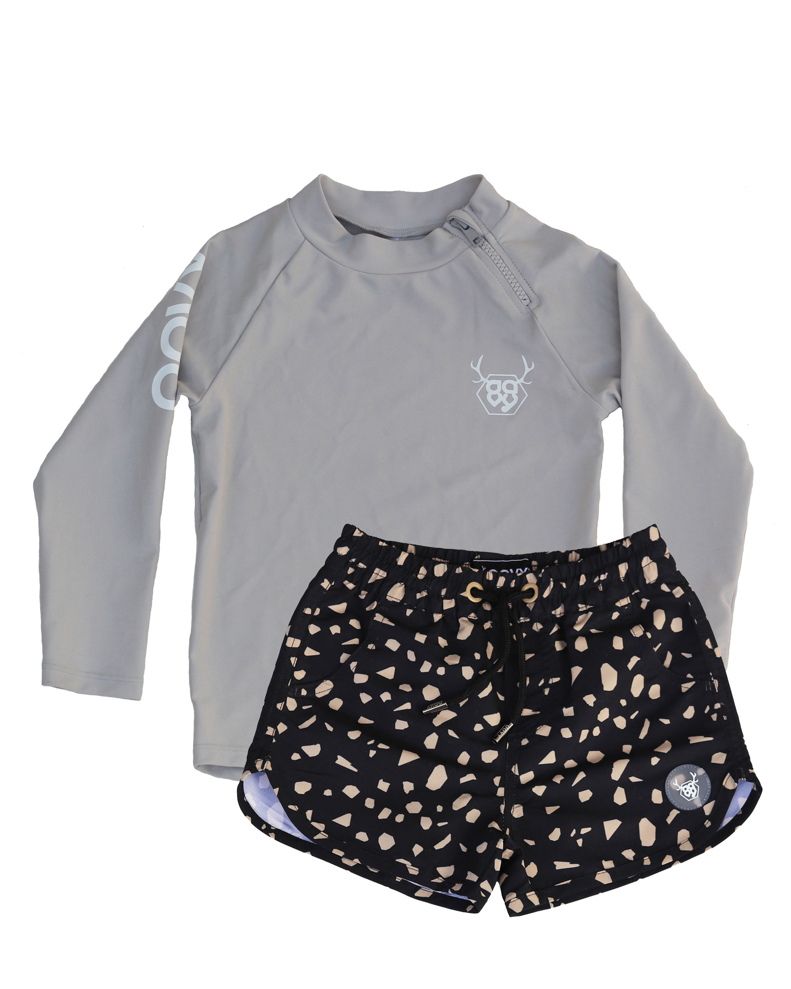 OOVY Kids Terrazzo Boardshorts and Stone Rashie Gift Set