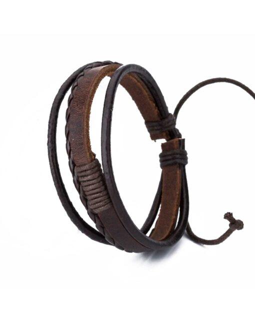 Boys Leather Bracelet Brown Four Strap
