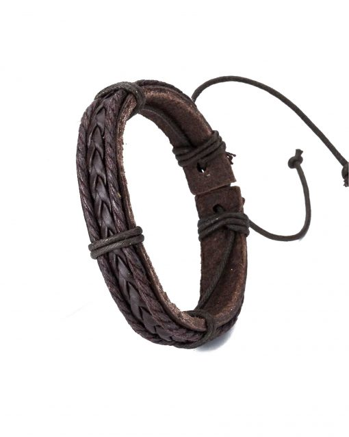 Boys Leather Bracelet Brown Weave single