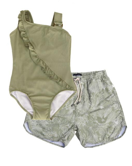 OOVY Father Botanicals Boardshorts and Fern Swimsuit Gift set