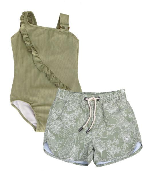 OOVY Kids Botanicals Boardshorts and Fern Swimsuit Gift set