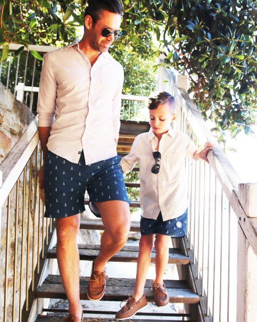 OOVY Father & Son Eco Anchor Tailored Swim Shorts